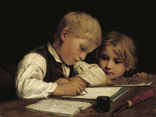 A Boy Writing; Schreibender Knabe Mit Schwesterchen, 1875-Albert Anker-Giclee Print