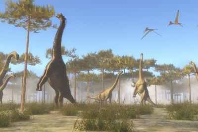 A Brachiosaurus Herd Grazing on Treetops-Stocktrek Images-Art Print