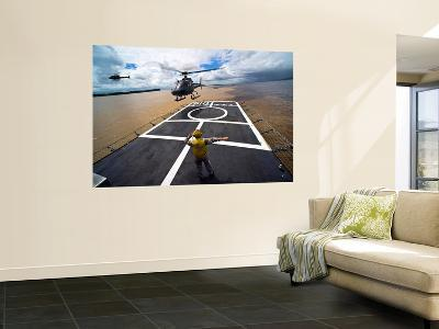 A Brazilian Eurocopter Prepares to Land Aboard a Brazilian Navy Hospital Ship-Stocktrek Images-Wall Mural