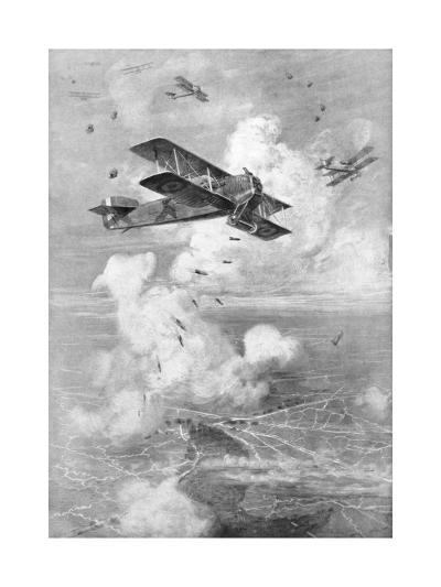 A Breguet French Biplane Bomber in Action, C1917--Giclee Print