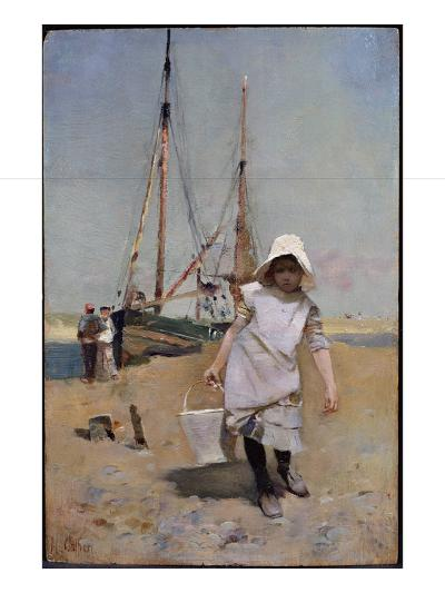 A Breton Fisher Girl (Oil on Panel)-Hector Caffieri-Giclee Print