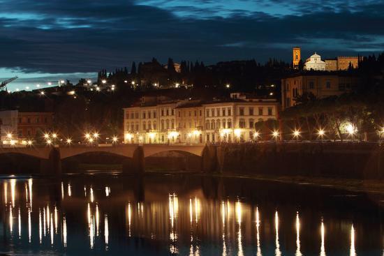 A Bridge and Reflections in the Arno River at Dawn-Joe Petersburger-Photographic Print
