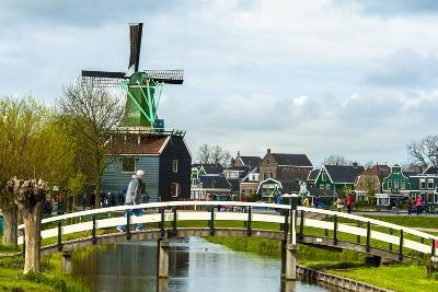 A Bridge Leading to a Village of Historic Homes in the Netherlands-Sheila Haddad-Photographic Print