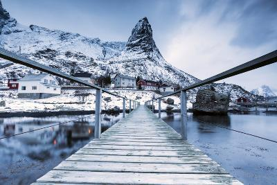 A Bridge over the Cold Sea Connects a Typical Fishing Village. Reine-Roberto Moiola-Photographic Print