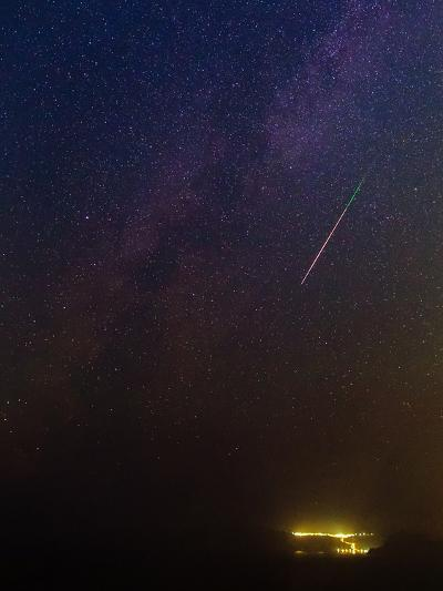A Bright Meteor During Perseid Meteor Shower Streaks across the Night Sky-Babak Tafreshi-Photographic Print