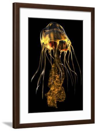 A Brightly Colored Jellyfish Illustration-Stocktrek Images-Framed Art Print