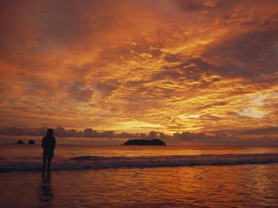 A Brilliant Orange Sunset on the Coast of Costa Rica-Tim Laman-Photographic Print