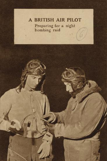 A British Air Pilot Preparing for a Night Bombing Raid, World War II--Photographic Print