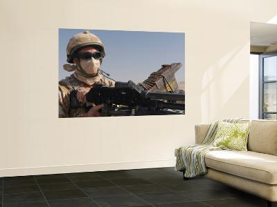 A British Army Soldier Mans a Machine Gun Mounted on Top of a Land Rover-Stocktrek Images-Wall Mural