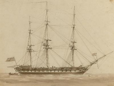 A British Frigate Riding on Her Anchor-John Wilson Carmichael-Giclee Print