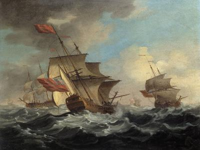 A British Man of War in a Strong Breeze with East Indiamen in the Distance-Peter Monamy-Giclee Print