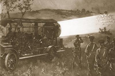 A British Motor Searchlight on the Battlefield--Giclee Print