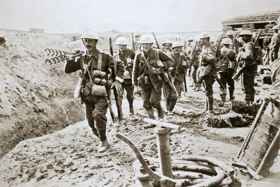 A British wiring party going up to the trenches, Somme campaign, France, World War I, 1916-Unknown-Photographic Print