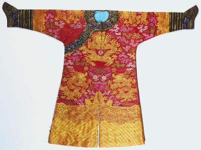 A Bronze Silk Dragon Robe, Woven with Yellow Dragons--Giclee Print