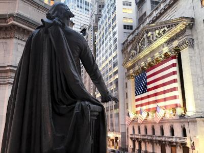 A bronze statue of George Washington and the New York Stock Exchange--Photographic Print