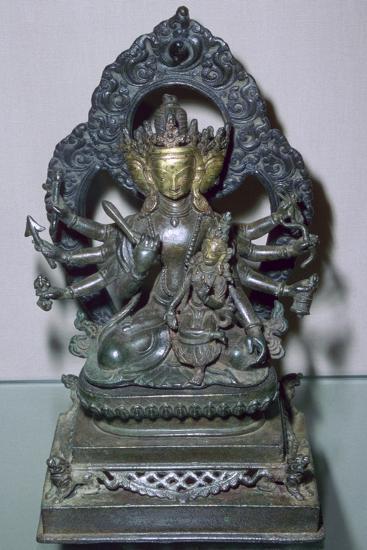 A bronze statuette of Bodhisattva Manjunatha, a Nepalese deity. Artist: Unknown-Unknown-Giclee Print