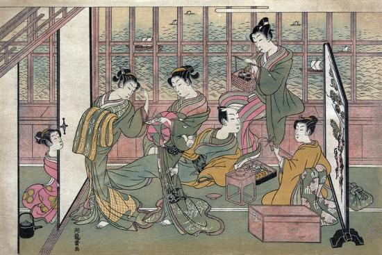 A Brothel in Shinagawa: First Page of a Shunga Set--Giclee Print