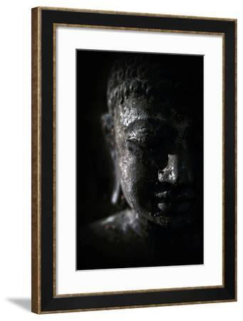 A Buddha Statue in the Garden of Zen Temple Ryumonji Illuminated by the Last Sun Rays of the Day--Framed Photographic Print