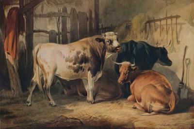 A Bull and three Cows in a Stable, c1856-Thomas Sidney Cooper-Giclee Print