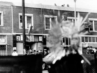 A Bullet Hole Made During an Exchange of Gunfire of LA Police and Black Panthers, Dec 8, 1969--Photo