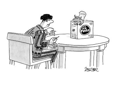 A bullfighter, holding a tiny cape and sword, waits for a miniature bull t? - New Yorker Cartoon-Jack Ziegler-Premium Giclee Print