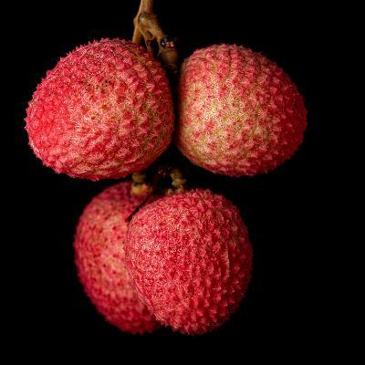 A Bunch of Lychees against a Black Background- hein-Photographic Print