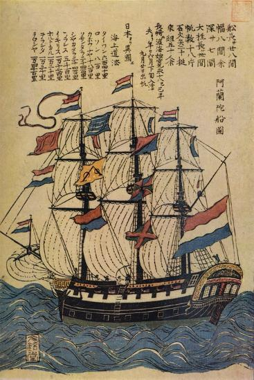 'A Bunkindo Colour-Print of a Dutch Ship with descriptive text', c1800, (1936)-Unknown-Giclee Print