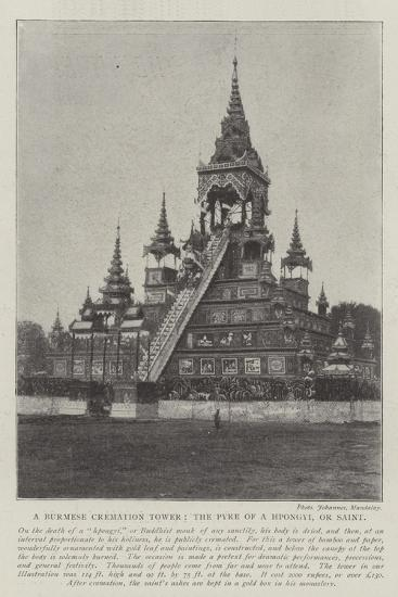 A Burmese Cremation Tower, the Pyre of a Hpongyi, or Saint--Giclee Print