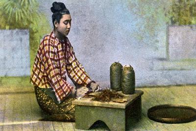 A Burmese Woman Making Cigars, C1900s--Giclee Print