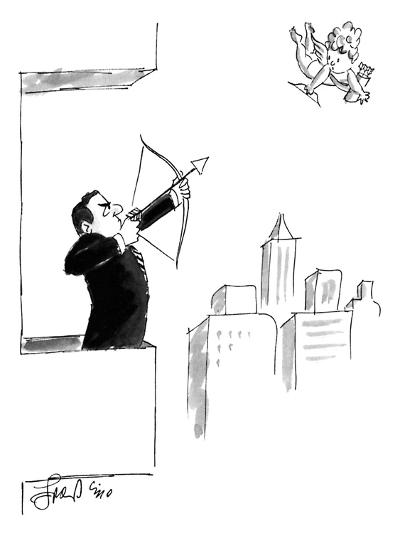 A businessman on a balcony takes aim at Cupid with a bow and arrow. - New Yorker Cartoon-Edward Frascino-Premium Giclee Print