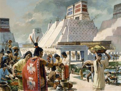 A Bustling Marketplace in the Aztec Capital of Tenochtitlan-H. Tom Hall-Giclee Print