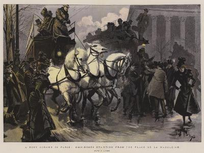 A Busy Corner in Paris, Omnibuses Starting from the Place De La Madeleine--Giclee Print