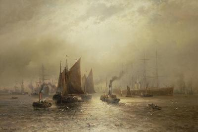 A Busy Morning on the River Mersey, 1891-Francis Krause-Giclee Print
