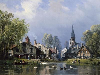 A Busy Riverside Village-Charles Euphrasie Kuwasseg-Giclee Print