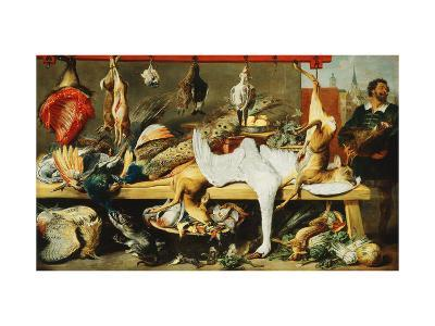 A Butcher's Stall with Cats and Kittens playing and a Butcher holding a Boar's Head-Frans		 Snyders-Giclee Print