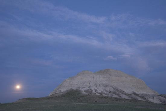 A Butte and the Full Moon in the Oglala National Grassland-Phil Schermeister-Photographic Print