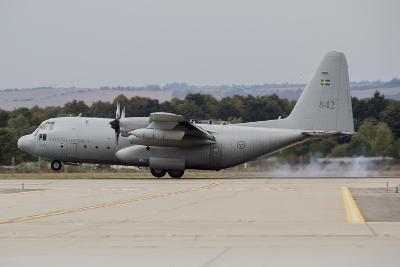 A C-130E Hercules of the Swedish Air Force Landing in Ostrava, Czech Republic-Stocktrek Images-Photographic Print