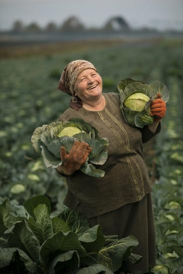 A Cabbage Farmer on Her Farm-Jim Richardson-Photographic Print