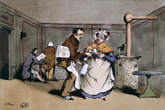 A Cafe' in Paris, Ca 1830, France 19th Century--Giclee Print