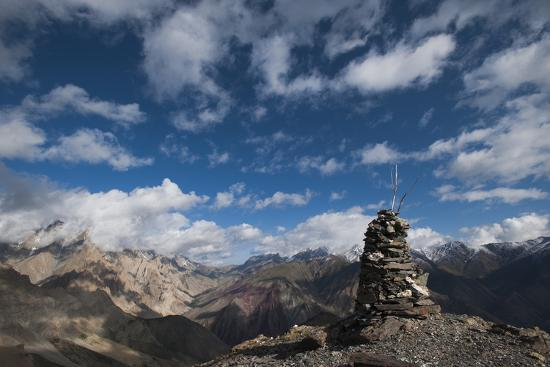 A cairn on top of the Dung Dung La in Ladakh, a remote Himalayan region in north India, Asia-Alex Treadway-Photographic Print