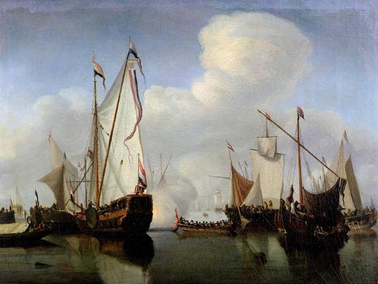 A Calm: a Dutch States Yacht Firing a Salute-Willem Van De, The Younger Velde-Giclee Print