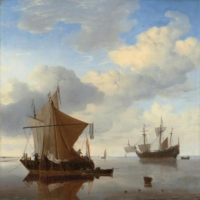 A Calm - a Smalschip and a Kaag at Anchor with an English Man-O'-War Beyond-Willem Van De, The Younger Velde-Giclee Print