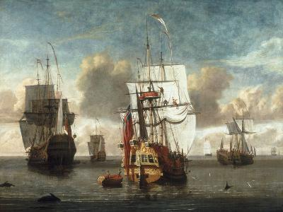 A Calm with British Shipping at Anchor-L. deMan-Giclee Print