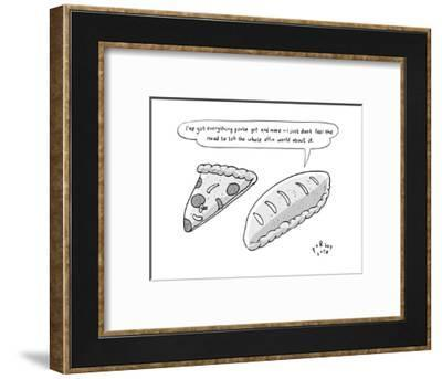 """A calzone says to a pizza slice, """"I've got everything you've got and more,... - New Yorker Cartoon--Framed Premium Giclee Print"""