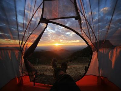A Camping Tent Glows under Sunset to a Night Sky Outdoor Camping Adventure-noppawan leecharoenphong-Photographic Print