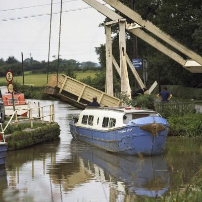 A Canal Boat Passing under a Lift Bridge on the Llangollen Canal, 1970-Michael Walters-Photographic Print