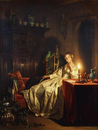 A Candlelit Interior with a Lady Seated at a Table, 1865-Petrus van Schendel-Giclee Print