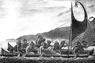 A Canoe of the Sandwich Islands, Late 18th Century-Page-Giclee Print