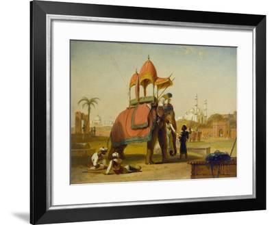 A Caparisoned Elephant - Scene Near Delhi (A Scene in the East Indies), 1832-William Daniell-Framed Giclee Print