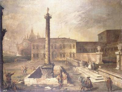 A Capriccio of a Piazza in Front of a Palace with the Column of Marcus Aurelius-Canaletto-Giclee Print